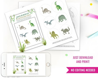 Dinosaur Scavenger Hunt Activity Printable - Dinosaur Games - DIY Printable Dinosaur Game - Instant Download + Print at home