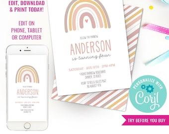 Rainbow Party Invitation - Boho Pink Rainbow Party Invitation - Modern Rainbow Party Invitation - Instant Download & Edit File with Corjl