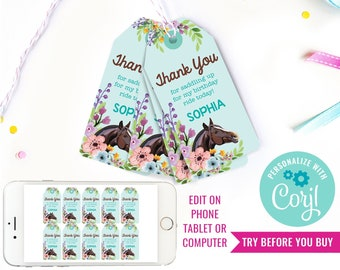 Horse Party Favor Tags - Horse Birthday Party Favors - Turquoise Horse Party Favors - Instant Download & Edit File with Corjl