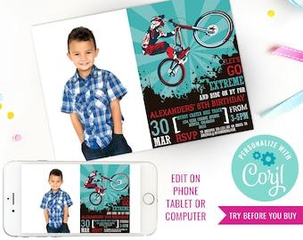 BMX Bike Party Invitation - Mountain Bike Party Invitation - Bike Party Photo Invitation - Instant Download & Edit File with Corjl