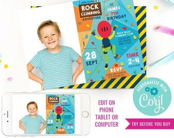 Rock Climbing Party Invitation - Indoor Climbing Party Invite - Photo Invitation - Instant Download & Edit File with Corjl