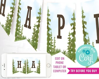 Camping Party Happy Birthday Banner for a Boy - Backyard Campout - Watercolor Camping Banner - Instant Download & Edit File with Corjl