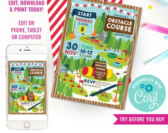 Obstacle Course Party Invitation - Activity Party Invite - Obstacle Course Invitation - Instant Download & Edit File with Corjl