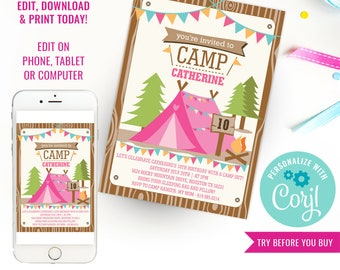 Camping Tent Party Invitation for a Girl - Camp Out  - Glamping Editable - Girls Camping Party - Instant Download & Edit File with Corjl