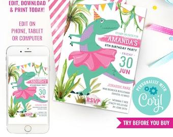 Dinosaur Birthday Party Invitation - Girl Dinosaur Ballerina Birthday Invitation - Dino Party - Instant Download & Edit File with Corjl