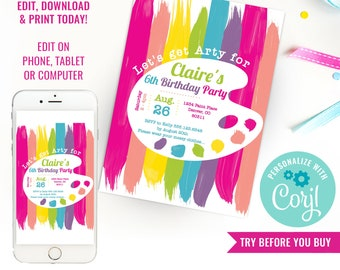 Art Party Invitation - Rainbow Art Party - Arty Party Invitation - Artsy Party Invitation - Instant Download & Edit File with Corjl