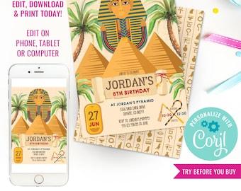 Ancient Egypt Party Invitation - Tutankhamen Party Invitation - Archaeology Party Invitation - Instant Download & Edit File with Corjl