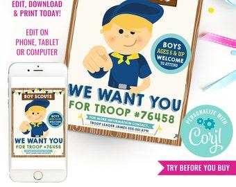 Boy Scouts Recruitment Flyer Printable - Boy Scouts Recruitment Poster - Join The Troop Flyer - Instant Download & Edit File with Corjl