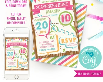 Scavenger Hunt Birthday Party Invitation - Girls Detective Party Invitation - Instant Download & Edit File with Corjl
