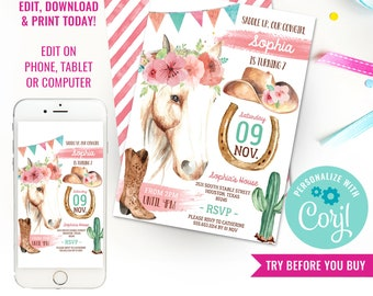 Cowgirl Birthday Party Invitation - Cowgirl Watercolor Invitation - Horse Party - Instant Download & Edit File with Corjl