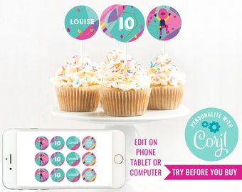 Rock Climbing Girls Party Cupcake Toppers - Indoor Climbing Party Toppers - Rock Climbing Topper - Instant Download & Edit File in Corjl