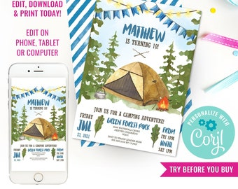Camping Party Invitation for a Boy - Backyard Campout - Watercolor Invitation - Instant Download & Edit File with Corjl