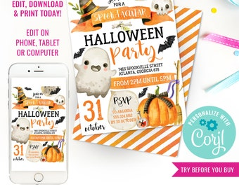 Halloween Party Invitation - Kids Halloween Party - Halloween Birthday Invitations - Instant Download & Edit File with Corjl