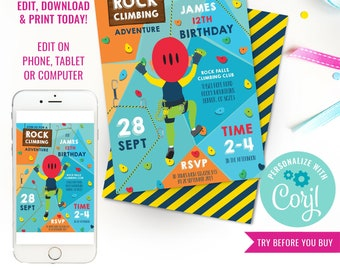 Rock Climbing Party Invitation - Indoor Climbing Party Invite - Kids Rock Climbing Party - Instant Download & Edit File with Corjl