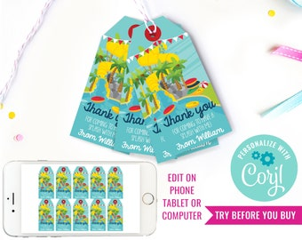 Water Park Birthday Party Favor Tags - Water Slide Party Favors - Summer Party - Instant Download & Edit File with Corjl