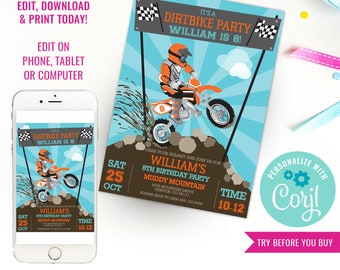 Dirt Bike Party Invitation - Motorbike Party - Motocross Party - Instant Download & Edit File with Corjl