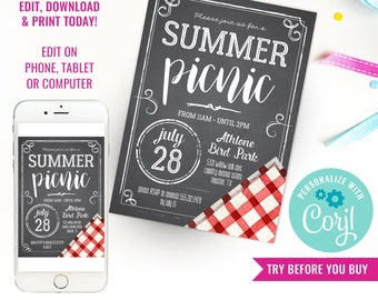 Picnic Party Invitation - Summer Picnic Party Invite - Chalkboard Red Gingham Party Invitation - Instant Download & Edit File with Corjl