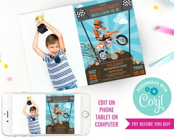 Dirt Bike Party Invitation - Motorbike Party - Motocross Party - Photo Invitation - Instant Download & Edit File with Corjl