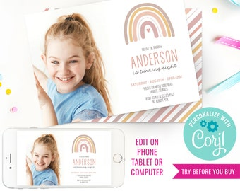 Rainbow Party Photo Invitation - Boho Pink Rainbow Invitation - Modern Rainbow Party Invitation - Instant Download & Edit File with Corjl