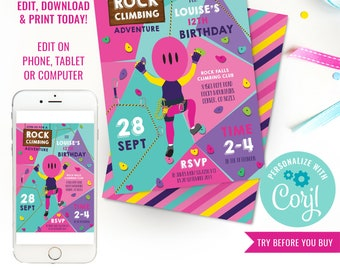 Rock Climbing Party Invitation for Girls - Indoor Climbing Party Invite - Instant Download & Edit File with Corjl