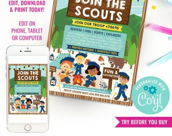 Scouts Recruitment Flyer Printable - Boy Scouts Coed Recruitment Poster - Scout Me In Flyer - Instant Download & Edit File with Corjl
