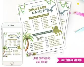 Dinosaur Name Poster - Dinosaur Games - DIY Printable Dinosaur Poster - Jurassic Dinosaur Poster - Instant Download + Print at home