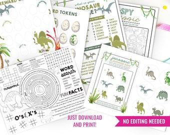 Dinosaur Printable Activity Sheets Set - Dinosaur Games - DIY Dinosaur Jurassic Activity Sheets - Instant Download + Print at home