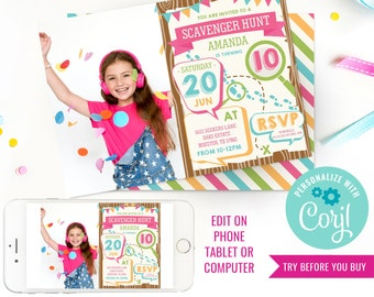 Scavenger Hunt Birthday Party Invitation - Girls Detective Party Invitation - Photo Invitation - Instant Download & Edit File with Corjl