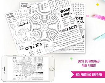 Dinosaur Activity Placemat - Dinosaur Games - DIY Printable Dinosaur Placemat - Jurassic Activity Sheets - Instant Download + Print at home