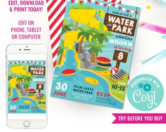 Water Park Party Invitation - Water Slide Party Invitation - Pool Party Invitation - Instant Download & Edit File with Corjl