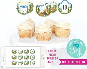 Camping Party Cupcake Toppers for a Boy - Backyard Campout - Watercolor Cupcake Toppers - Instant Download & Edit File with Corjl