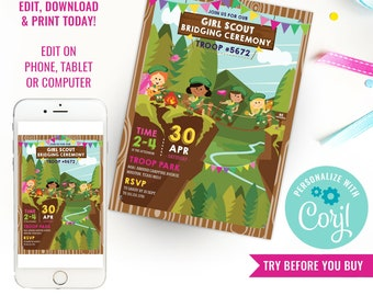 Girl Scout Bridging Ceremony Invitation - Girl Scout Invitation - Camping Invitation - Instant Download & Edit File with Corjl
