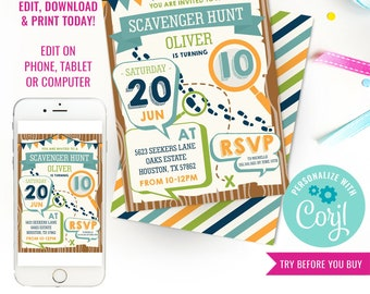 Scavenger Hunt Birthday Party Invitation - Boys Detective Party Invitation - Instant Download & Edit File with Corjl