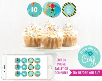 Rock Climbing Party Cupcake Toppers - Indoor Climbing Party Toppers - Rock Climbing Party Topper - Instant Download & Edit File in Corjl