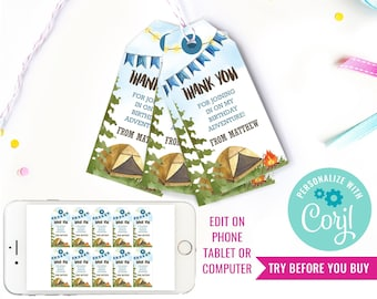 Camping Party Favor Tags for a Boy - Backyard Campout - Watercolor Camping Favors - Instant Download & Edit File with Corjl