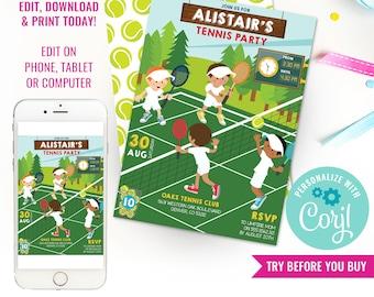 Tennis Party Invitation - Boys Wimbledon Party Invitation - Kids Tennis Party Invitation - Instant Download & Edit File with Corjl