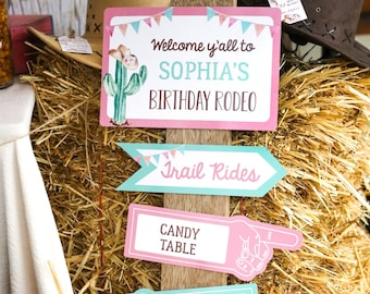 Cowgirl Party Signs - Cowgirl Party Welcome Sign - Horse Party Decor - Instant Download and Edit File at home with Adobe Reader