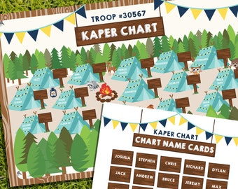 Boy Scout Kaper Chart - Editable Kaper Chart 20x30inch - Printable Kaper Chart Poster Size -Instant Download and Edit File with Adobe Reader