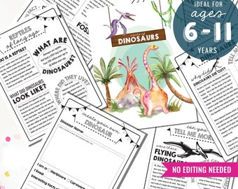 Kids Dinosaur Activity Sheets - Dino Activity Sheet- Jurassic Activity Sheets - Learn about Dinosaurs - Instant Download - Print at Home
