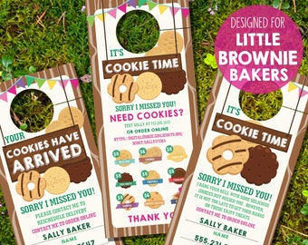 Girl Scout Cookie Printables - Cookie Seller Printable Door Hanger - LBB Cookie Door Hanger - Instant Download and Edit File in Adobe Reader