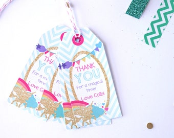 Unicorn Party Favors - Unicorn Favor Tags - Unicorn Labels - Instant Download and Edit at home with Adobe Reader