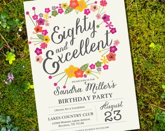 Floral Eightieth Birthday Invitation