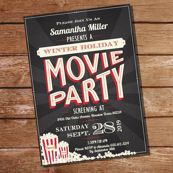 Movie Invitation Download and Personalize in Adobe Reader Movie Birthday Movie Party Movie Night Birthday Invitation /& Decorations
