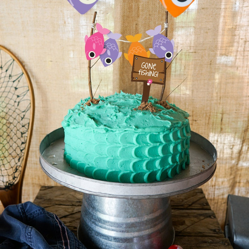 Gone Fishing Party Cake Topper Girl