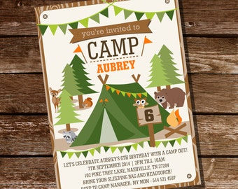 Camping Tent Party Invitation for Boys and Girls - Camp Out - Instant Download and Editable File - Personalize at home with Adobe Reader