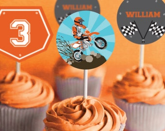 Dirt Bike Party Cupcake toppers - Motorbike Party - Motocross Party - Instant Download and Editable File - Personalize with Adobe Reader