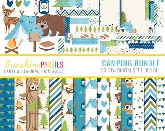 Boys Camping Digital Paper Set - Digital Paper Bundle, Tags, Washi Tape, Clipart - Instant Download