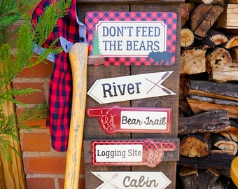 Little Lumberjack Party Signs - Directional signs for Party - Instant Download and Edit File at home with Adobe Reader - Print at home