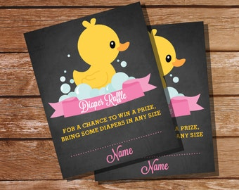 Chalkboard Rubber Duck Baby Shower Diaper Raffle Cards - Instant Download and Editable File - Personalize at home with Adobe Reader