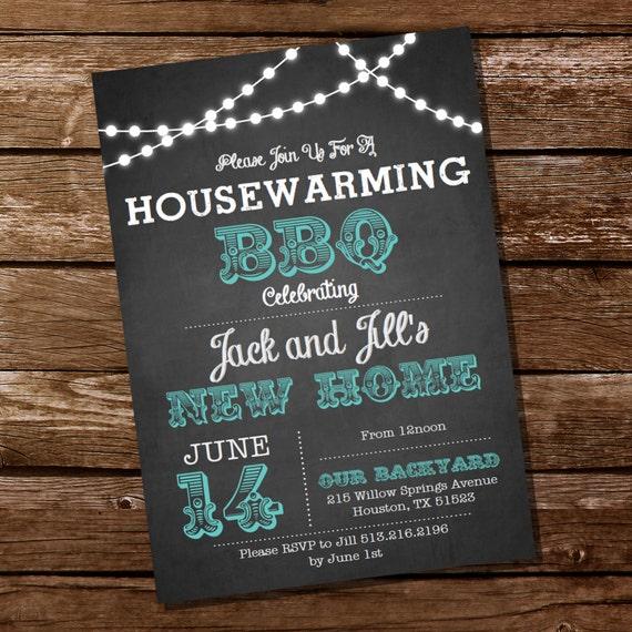 Chalkboard Housewarming BBQ Invitation Party